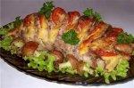 Рецепт свинины, запеченой гармошкой, с картофельными грибочками