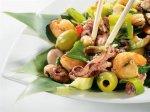 Рецепт теплого салата с пореем и морепродуктами
