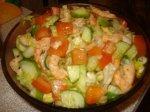 Рецепт овощного салата с креветками