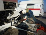 В Аксайском районе при столкновении фуры MAN и Mitsubishi Mirage, легковушка превратилась в груду металла