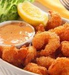 Рецепт: Жареные креветки в кляре из эля с соусом тартар