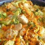 Рецепт: курица с брокколи и морковью, тушеная в сливках
