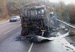 Под Новороссийском на трассе полностью сгорел пассажирский автобус