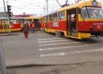 Трамвай сошел с рельсов в Краснодаре