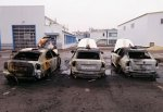 """В г. Шахты сожгли 3 автомобиля такси """"Шкода Октавия"""" такси """"Замок"""""""