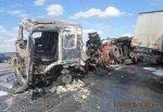 Столкнулись битумовоз, фура, Toyota Camry и Daewoo Nexia на трассе М4 неподалеку от г. Шахты
