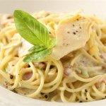 Спагетти карбонара с шампиньонами
