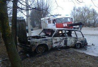 Полностью сгорел ВАЗ на трассе Шахты — Новочеркасск