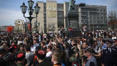 Суд оштрафовал мужчину, бившего нагайкой участников акции в Москве 5 мая