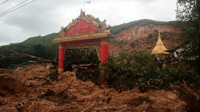 В Мьянме 15 человек погибли в результате оползня