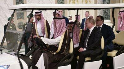 Путин и саудовский король прибыли во дворец в Эр-Рияде на электрокаре