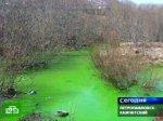 Река Кирпичная стала ядовито-изумрудной